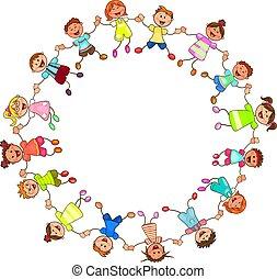 heureux, enfants tenant mains
