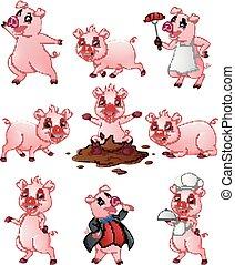 heureux, ensemble, dessin animé, collection, cochon