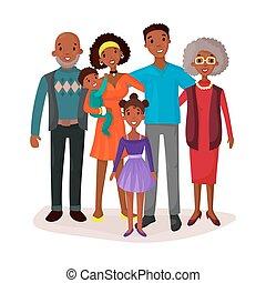 heureux, et, sourire, dessin animé, famille, logo