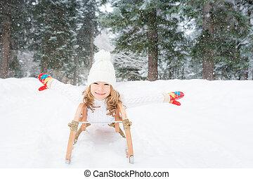 heureux, extérieur, hiver, enfant