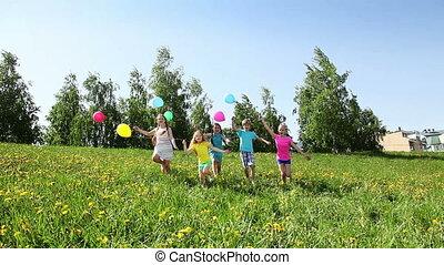 heureux, fête, groupe, course, gosses