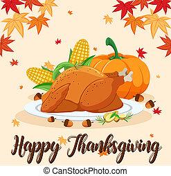 heureux, fête, scène, thanksgiving