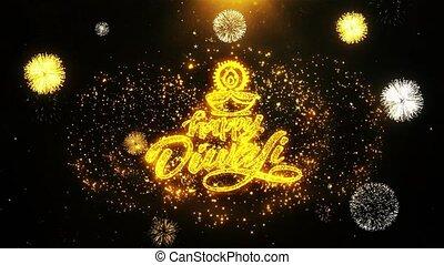 heureux, fait boucle, diya, diwali, carte, invitation, voeux...