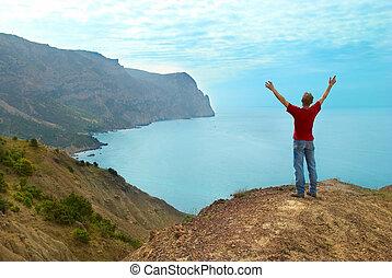 heureux, falaise, homme