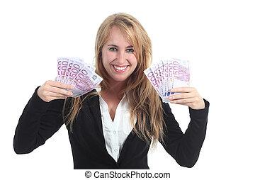 heureux, femme affaires, à, beaucoup, de, argent