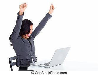 heureux, femme affaires, à, ordinateur portable, computer.