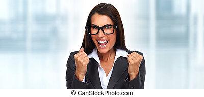 heureux, femme affaires