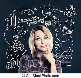heureux, femme affaires, sur, business, flèches, ampoule, finance, icône, et, marques, arrière-plan., idée, business, planification, et, stratégie, concept