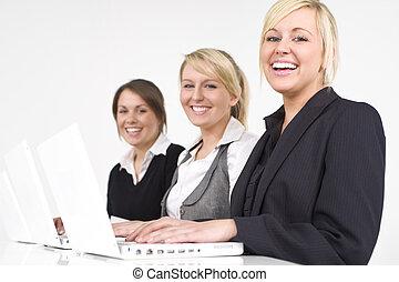 heureux, femmes affaires