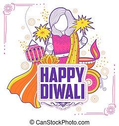 heureux, festival, griffonnage, diwali, inde, célébrer, fond, lumière, vacances, gosse