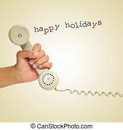 heureux, fetes, téléphone