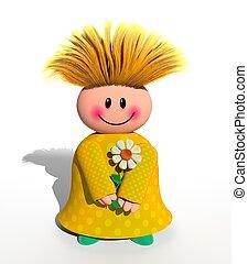 heureux, fille fleur