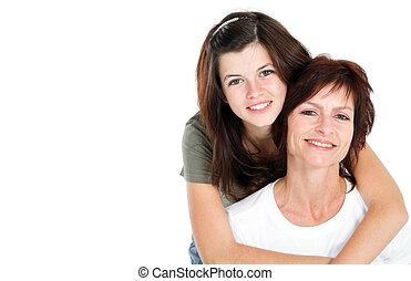 heureux, fille, mère