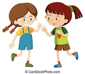 heureux, filles, jouer, deux