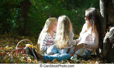 heureux, filles, mère