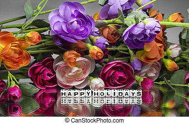 heureux, fleurs, fetes
