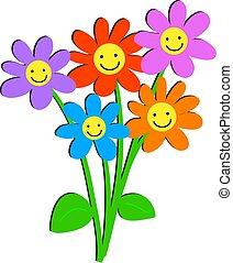 heureux, fleurs