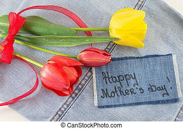 heureux, fleurs, jour, carte, mères