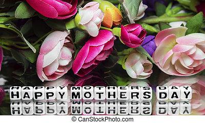 heureux, fleurs, jour, mères