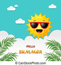 heureux, fond, été, soleil, dessin animé