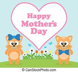 heureux, fond, jour, carte, mère