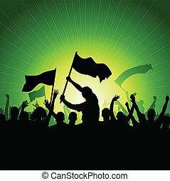heureux, foule, à, drapeaux