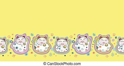 heureux, frontière, florals., chat jaune