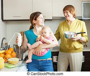 heureux, fruit, purée, cuisine famille
