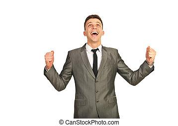heureux, gagnant, homme affaires