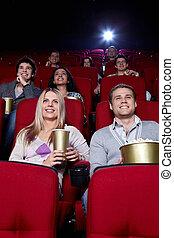 heureux, gens, cinéma