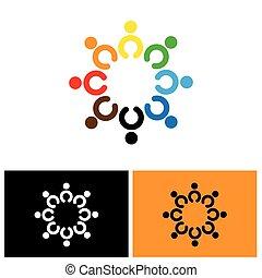 heureux, gens, excité, joyeux, vecteur, cercle, icône