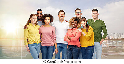 heureux, gens, groupe, international, sourire
