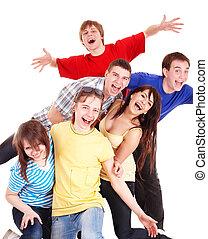 heureux, gens., jeune, groupe