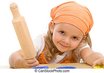 heureux, girl, à, a, rouleau pâtisserie