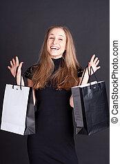 heureux, girl, achats