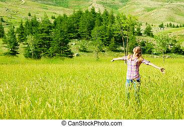 heureux, girl, apprécier, nature
