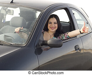 heureux, girl, dans voiture