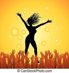 heureux, girl, sauter, mains