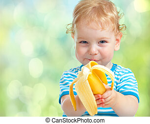 heureux, gosse, manger, banane, fruit., nourriture saine,...