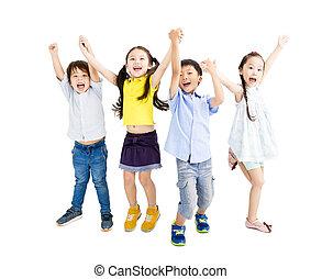heureux, gosses, groupe, sauter, danse