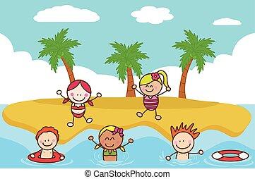 heureux, gosses, jouer, natation