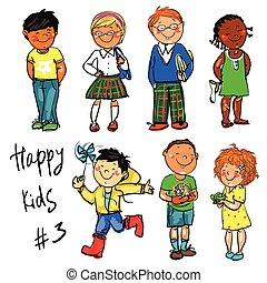 heureux, gosses, -, partie, 3., main, dessiné, clip-art.