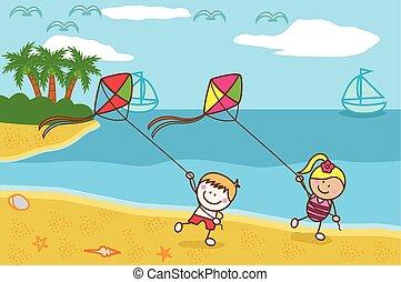 heureux, gosses, plage, cerf volant, jouer