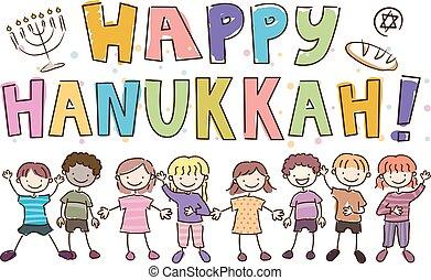 heureux, gosses, stickman, hanukkah