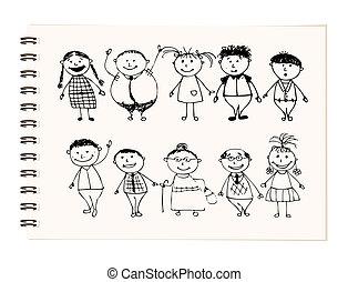 heureux, grand, famille, sourire, ensemble, dessin, croquis