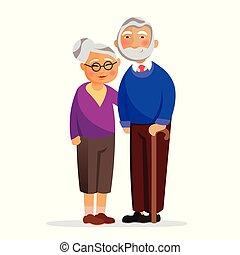 heureux, grand-maman, et, papy, debout, ensemble, et, hugging., vieilli, gens, isolé, blanc, arrière-plan., grand-mère, et, grand-père, amoureux, vecteur, plat, illustration., vieux, famille, à, bon, relationships.