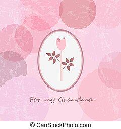 "heureux, grands-parents, day., ""for, mon, grandma""., vendange, heureux, grand-mère, card.typographical, salutation, card."