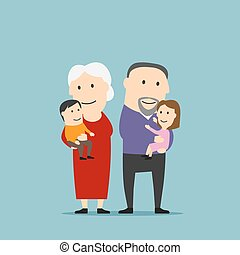 heureux, grands-parents, famille, à, petits-enfants