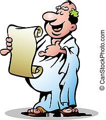 heureux, grec, prêtre