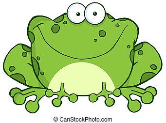 heureux, grenouille, dessin animé, caractère